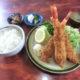 食事処かしわくら@鴨川市で特大エビフライ定食と房州丼